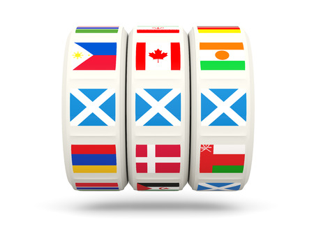 slots: Slots with flag of scotland isolated on white. 3D illustration Stock Photo