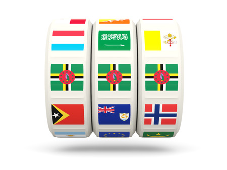 slots: Slots with flag of dominica isolated on white. 3D illustration