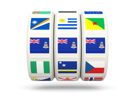 cayman: Slots with flag of cayman islands isolated on white. 3D illustration Stock Photo
