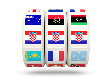 slots: Slots with flag of croatia isolated on white. 3D illustration
