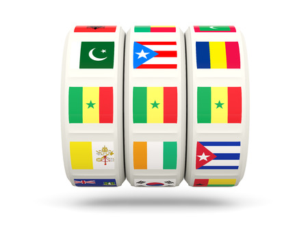 spin: Slots with flag of senegal isolated on white. 3D illustration
