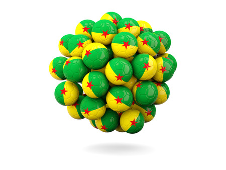 french guiana: Pile of footballs with flag of french guiana. 3D illustration Stock Photo