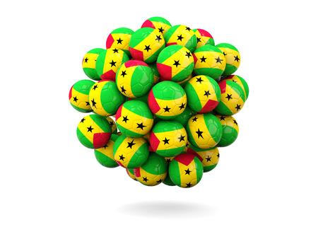 principe: Pila de balones de fútbol con la bandera de Sao Tome y Principe. ilustración 3D Foto de archivo