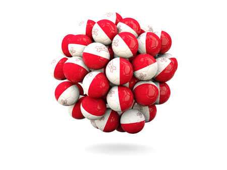 malta: Pile of footballs with flag of malta. 3D illustration Stock Photo