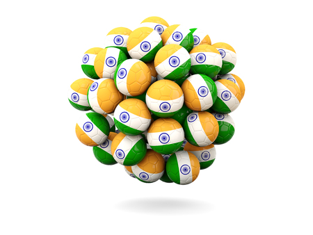 india 3d: Pile of footballs with flag of india. 3D illustration