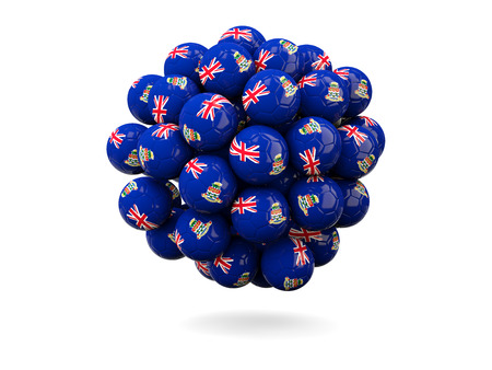 cayman islands: Pile of footballs with flag of cayman islands. 3D illustration