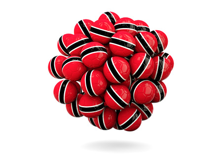 tobago: Pile of footballs with flag of trinidad and tobago. 3D illustration Stock Photo
