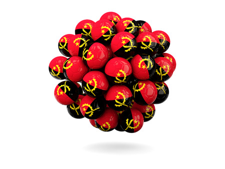 world flag: Pile of footballs with flag of angola. 3D illustration