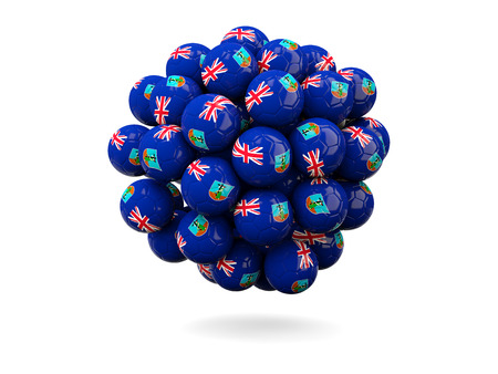 montserrat: Pile of footballs with flag of montserrat. 3D illustration