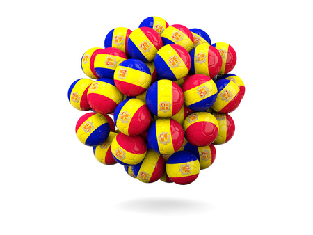 andorra: Pile of footballs with flag of andorra. 3D illustration