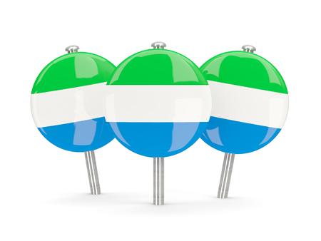 sierra: Flag of sierra leone, round pins on white. 3D illustration