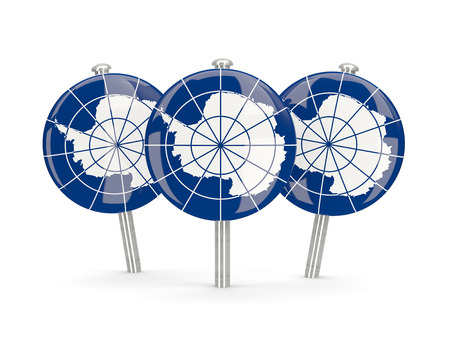 antarctica: Flag of antarctica, round pins on white. 3D illustration