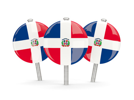 dominican: Flag of dominican republic, round pins on white. 3D illustration