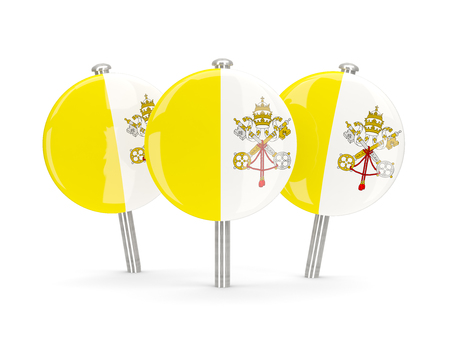 vatican city: Flag of vatican city, round pins on white. 3D illustration