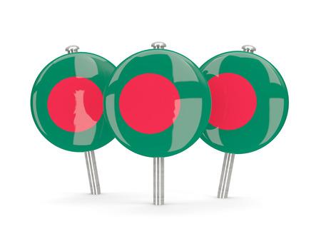 national flag bangladesh: Flag of bangladesh, round pins on white. 3D illustration Stock Photo