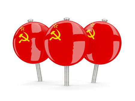 ussr: Flag of ussr, round pins on white. 3D illustration