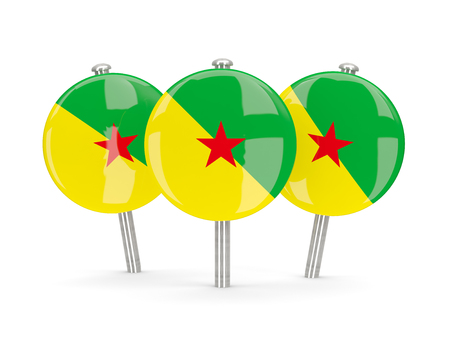 french guiana: Flag of french guiana, round pins on white. 3D illustration