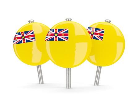niue: Flag of niue, round pins on white. 3D illustration Stock Photo