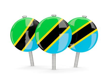 tanzania: Flag of tanzania, round pins on white. 3D illustration Stock Photo