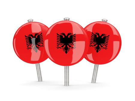 albania: Flag of albania, round pins on white. 3D illustration