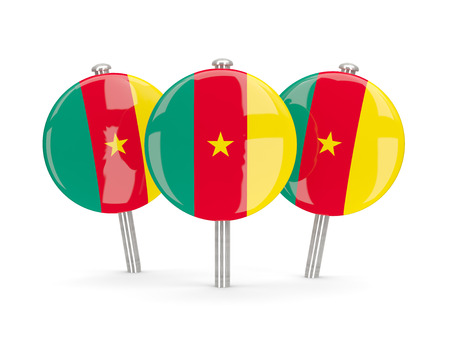 cameroon: Flag of cameroon, round pins on white. 3D illustration