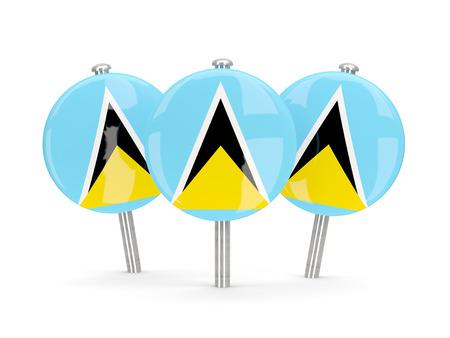 lucia: Flag of saint lucia, round pins on white. 3D illustration Stock Photo