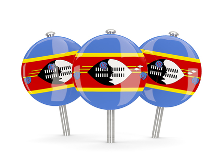 swaziland: Flag of swaziland, round pins on white. 3D illustration