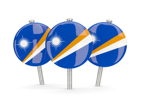 marshall: Flag of marshall islands, round pins on white. 3D illustration