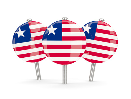 liberia: Flag of liberia, round pins on white. 3D illustration Stock Photo