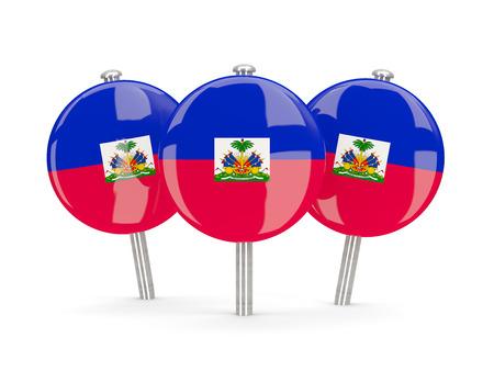 haiti: Flag of haiti, round pins on white. 3D illustration