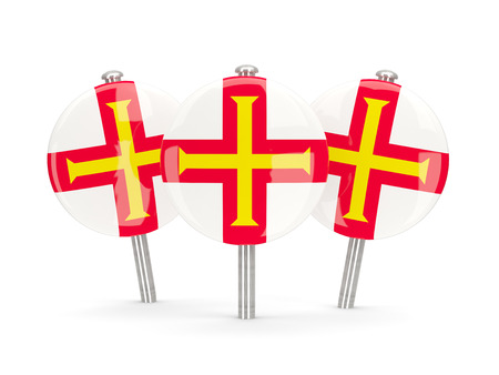 guernsey: Flag of guernsey, round pins on white. 3D illustration