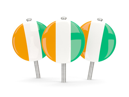 cote ivoire: Flag of cote d Ivoire, round pins on white. 3D illustration Stock Photo