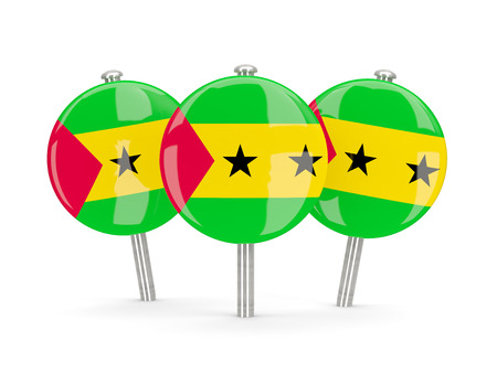 principe: Flag of sao tome and principe, round pins on white. 3D illustration Foto de archivo