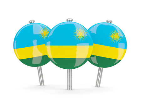 rwanda: Flag of rwanda, round pins on white. 3D illustration