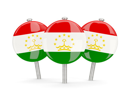 tajikistan: Flag of tajikistan, round pins on white. 3D illustration