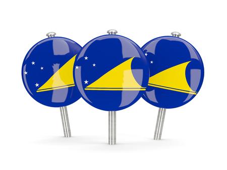 tokelau: Flag of tokelau, round pins on white. 3D illustration Stock Photo