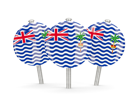 indian ocean: Flag of british indian ocean territory, round pins on white. 3D illustration