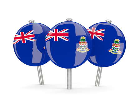 cayman islands: Flag of cayman islands, round pins on white. 3D illustration Stock Photo