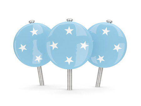 micronesia: Flag of micronesia, round pins on white. 3D illustration