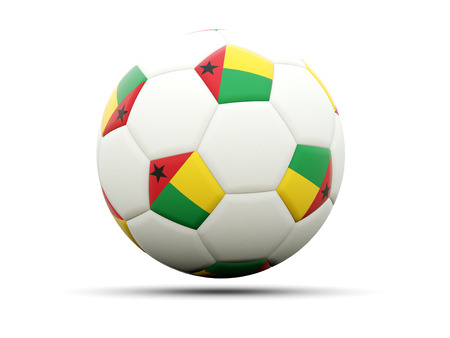 guinea bissau: Flag of guinea bissau on football, isolated on white. 3D illustration