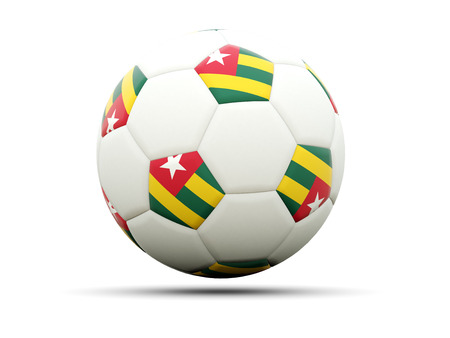 togo: Flag of togo on football, isolated on white. 3D illustration Stock Photo