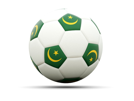mauritania: Flag of mauritania on football, isolated on white. 3D illustration Stock Photo