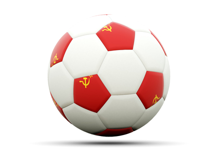 ussr: Flag of ussr on football, isolated on white. 3D illustration Stock Photo