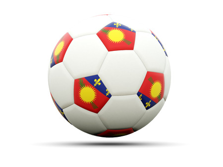 guadeloupe: Flag of guadeloupe on football, isolated on white. 3D illustration