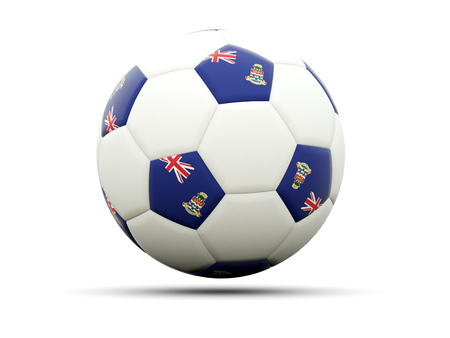 cayman islands: Flag of cayman islands on football, isolated on white. 3D illustration Stock Photo