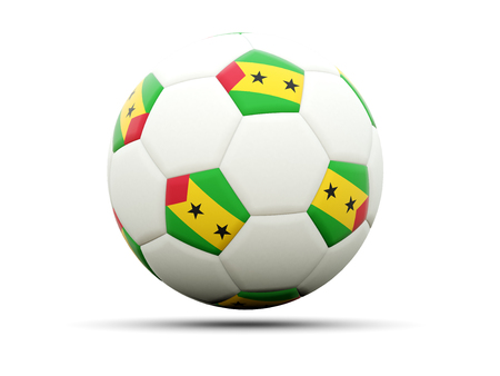 tome: Flag of sao tome and principe on football, isolated on white. 3D illustration Stock Photo