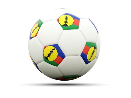 new caledonia: Flag of new caledonia on football, isolated on white. 3D illustration