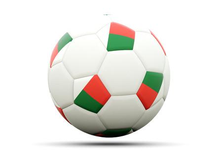 madagascar: Flag of madagascar on football, isolated on white. 3D illustration