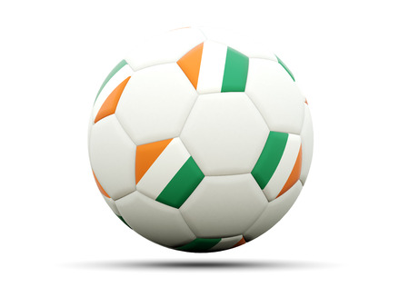cote d ivoire: Flag of cote d Ivoire on football, isolated on white. 3D illustration Stock Photo