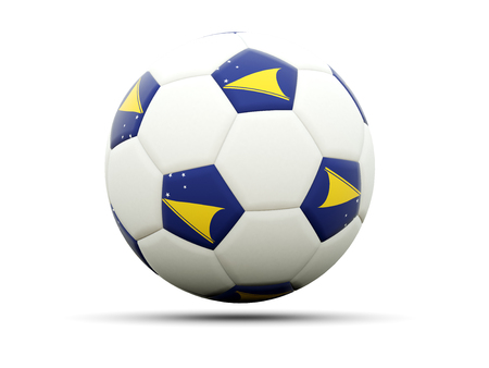 tokelau: Flag of tokelau on football, isolated on white. 3D illustration Stock Photo